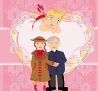 Stock Illustration of love seniors - card valentines