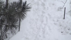 Foot Prints In The Snow During An Extreme Blizzard Tilt-Shot Stock Footage