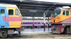Train connections at Hua Lamphong Railway Public Station Stock Footage