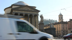 Traffic passes Gran Madre, Torino Stock Footage