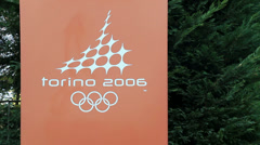 Torino 2006 Olympic winter games plaque Stock Footage