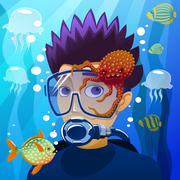 diving young man - stock illustration