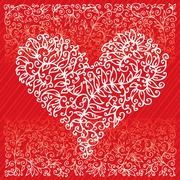 st. valentine love red heart card - stock illustration