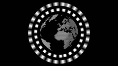 Futuristic HUD Showing Planet Earth Globe on a Black Background Stock Footage