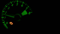 CAr 8000 rpm Tachometer metering video RED/Green glowing Stock Footage
