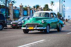 Caribbean cuba havana drives oldtimer Stock Photos