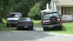 Small suburban house driveway Stock Footage