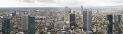 Aerial panorama of downtown Frankfurt, Germany. - stock photo