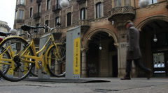 Torino bike sharing in Italy Stock Footage