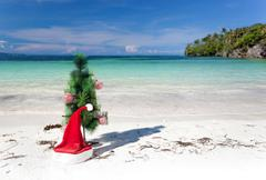 Celebration new year on tropical beach Stock Photos