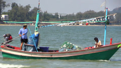 Fisherman boat going to sea, Asia, Thailand. Stock Footage
