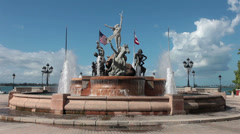 Old San Juan Las Raices Fountain Puerto Rico HD 1678 Stock Footage