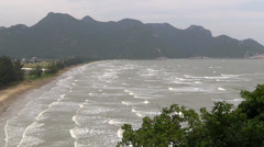 Windy Bay, waves, clouds, stormy. Thailand. Stock Footage