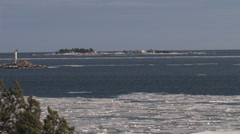 View of a Swedish archipelago in winter Stock Footage