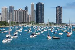 Chicago skyline with yachts and waterfront - stock photo