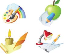 vector: painting, drawing, sketching, writing - detailed creative vector icon - stock illustration