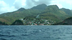 Stock Video Footage of St. Lucia sailing  024 a village at hillside seen from water
