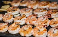 Prawns in a skillet Stock Photos