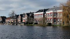 Accurate dutch houses with big windows, Haarlem, Netherlands - stock footage