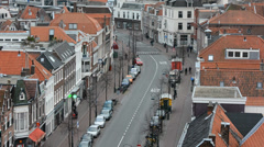Street with bus priority line in Netherlands - stock footage