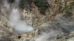 St. Lucia Soufrière area  035 sulfur sources, medium shot of steaming rocks - stock footage