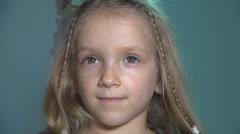 Portrait of Child, Kid Surfing Internet, Little Girl on Computer, PC, Children Stock Footage