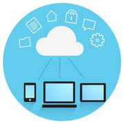 Cloud of information and devices connected to storage - stock illustration