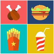 Fast Food: hamburger sandwich, potato fries, drink, chicken - stock illustration