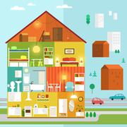 House in a Cut as a Part of the City Stock Illustration