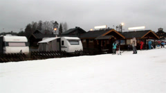 The view of the ski resort Stock Footage