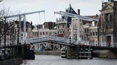 Movable bridge in Haarlem, Netherlands - stock footage