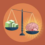 Brain vs. Money Illustration Stock Illustration