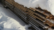 Pile of blocks filled with snow Stock Footage