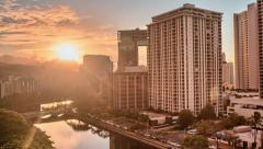 Honolulu Dawn, Ala Wai Canal, HDR Time Lapse 4k Stock Footage