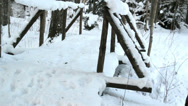 The small bridge filled with snow Stock Footage