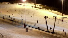 The ski resort at night Stock Footage