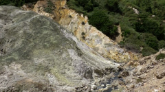 St. Lucia Soufrière area  037 yellow rocks at the Sulfur sources Stock Footage