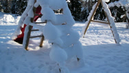 Thick snow covering the playground Stock Footage