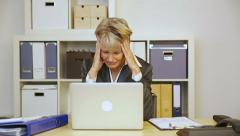 business woman with burnout in office - stock footage