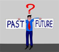 Man with past-future concept Stock Illustration