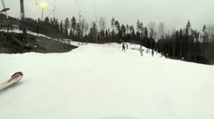 Tourists coming in the skiing area Stock Footage