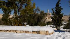 Jerusalem city walls after snow 151213 5 Stock Footage