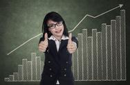 Stock Illustration of woman showing thumbs up