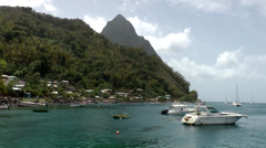 Stock Video Footage of St. Lucia sailing  030 many seagulls in the bay of Soufrièr