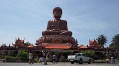The Biggest Sitting Buddha Statue in Asia Stock Footage