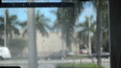 Raindrops on the front windshield Stock Footage