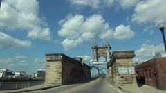 Driving on an old Bridge over the Ohio River like Brooklyn Bridge - stock footage