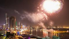 1080 - TET - CHINESE NEW YEAR FIREWORKS - HO CHI MINH CITY, VIETNAM Stock Footage