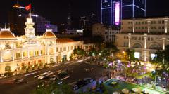 1080 Time Lapse of Saigon City Hall, Vietnam Stock Footage