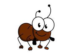 adorable little brown cartoon bug - stock illustration